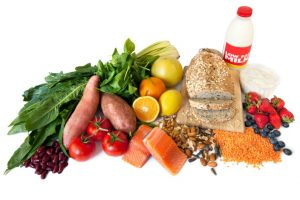 fruits, vegetables, grains, dairy foods