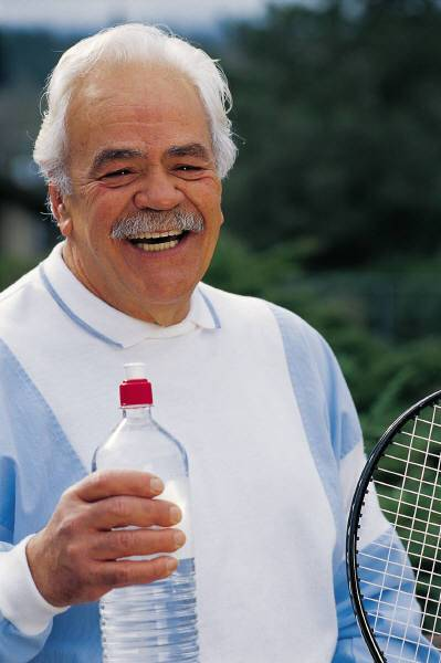 Why Exercise/Old Tennis Playing Man with Water Bottle
